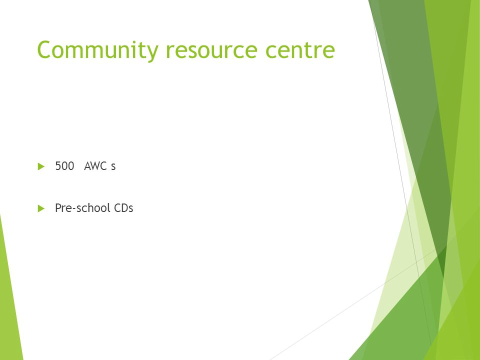 Community resource centre 500 AWC s Pre-school CDs