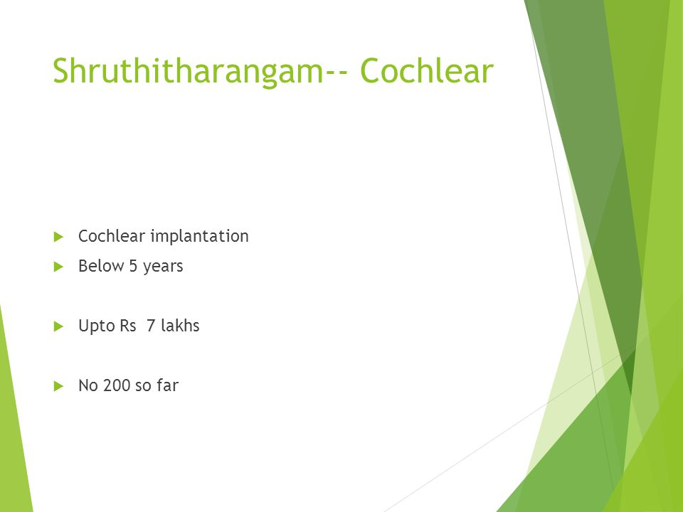 Shruthitharangam-- Cochlear Cochlear implantation Below 5 years Upto Rs 7 lakhs No 200 so far