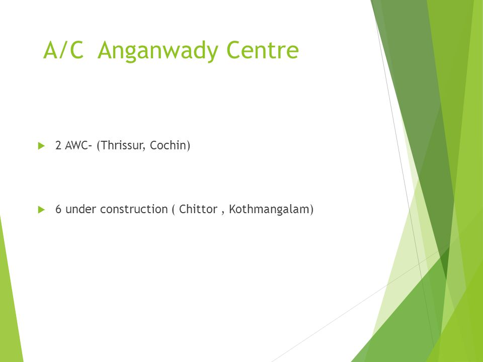 A/C Anganwady Centre 2 AWC– (Thrissur, Cochin) 6 under construction ( Chittor, Kothmangalam)