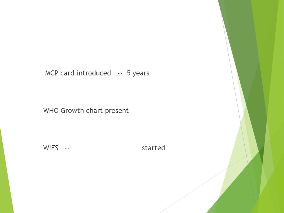 MCP card introduced -- 5 years WHO Growth chart present WIFS -- started