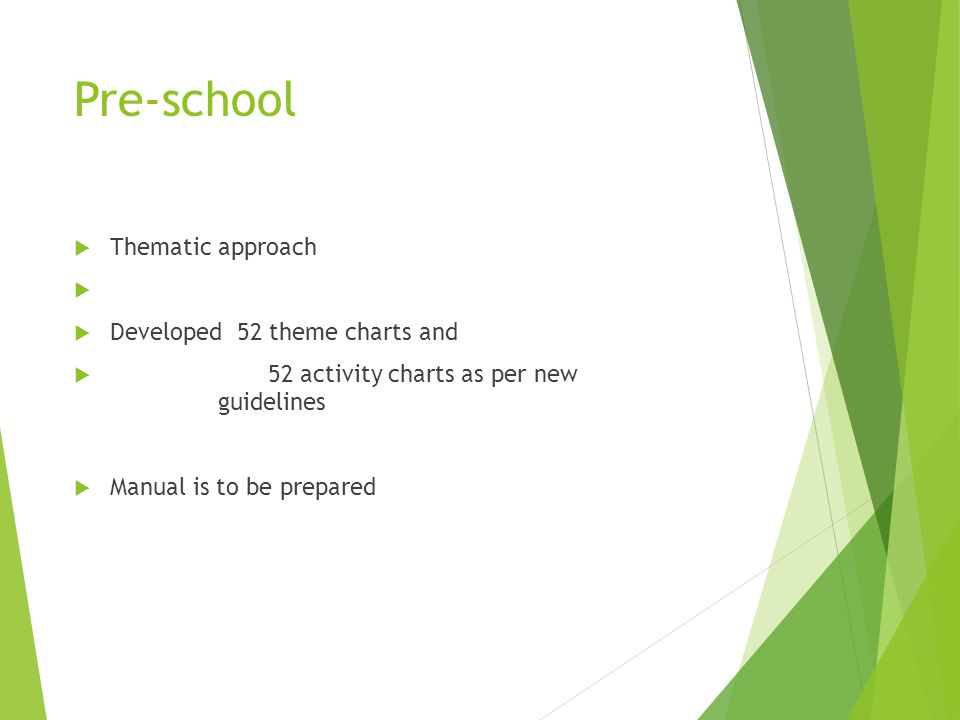 Pre-school Thematic approach Developed 52 theme charts and 52 activity charts as per new guidelines Manual is to be prepared