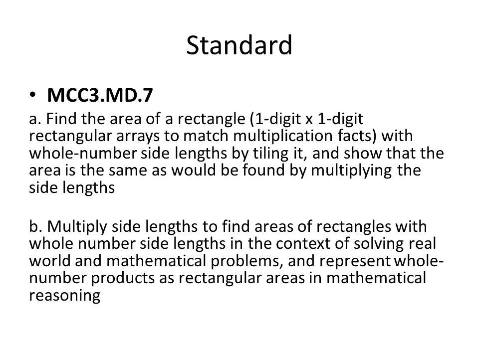 Standard MCC3.MD.7 a. Find the area of a rectangle (1-digit x 1-digit rectangular arrays to match multiplication facts) with whole-number side lengths