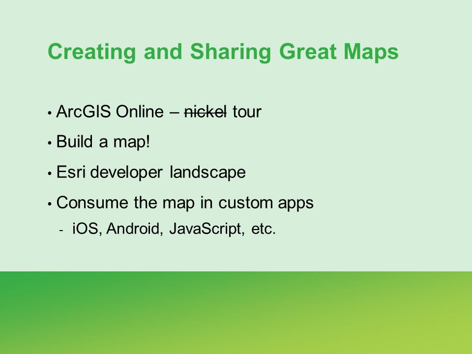 Creating and Sharing Great Maps ArcGIS Online – nickel tour Build a map.