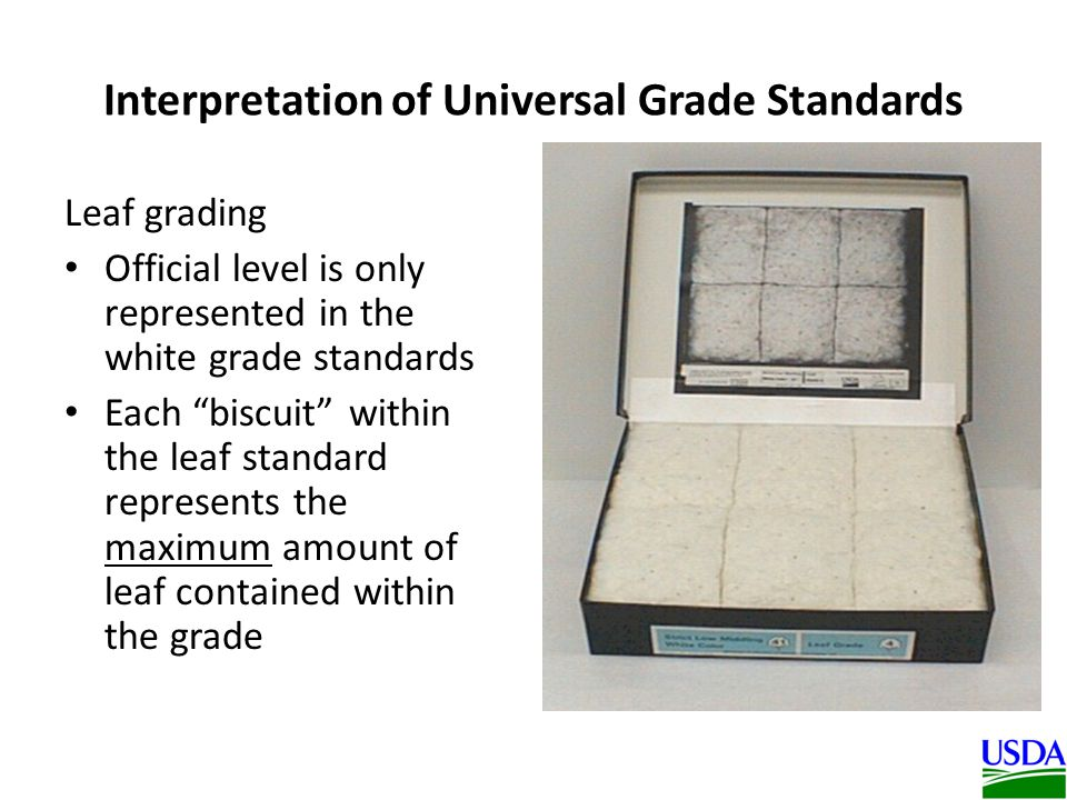 Interpretation of Universal Grade Standards Leaf grading Official level is only represented in the white grade standards Each biscuit within the leaf standard represents the maximum amount of leaf contained within the grade