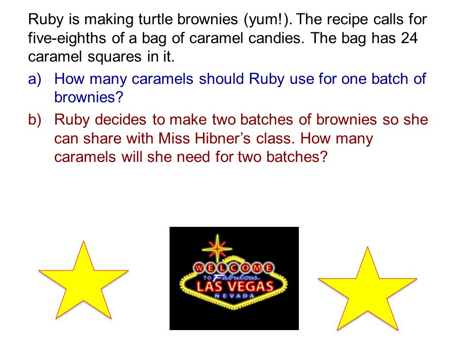 Ruby is making turtle brownies (yum!).