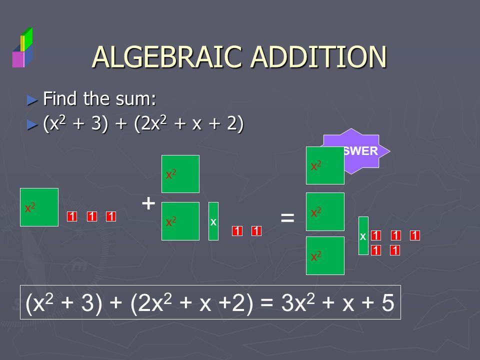 Find the sum: Find the sum: (x 2 + 3) + (2x 2 + x + 2) (x 2 + 3) + (2x 2 + x + 2) ALGEBRAIC ADDITION ANSWER x2x2 111 + x2x2 x2x2 x 11 = x2x2 x2x2 x2x2