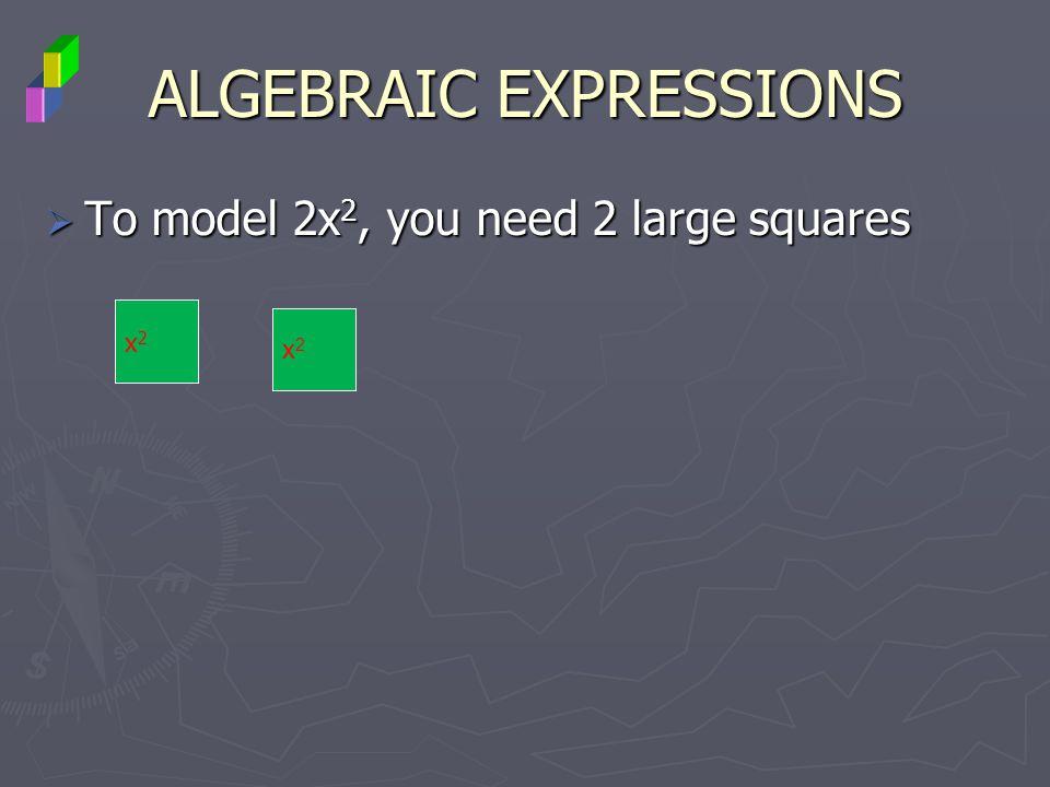 ALGEBRAIC EXPRESSIONS To model 2x 2, you need 2 large squares To model 2x 2, you need 2 large squares x2x2 x2x2