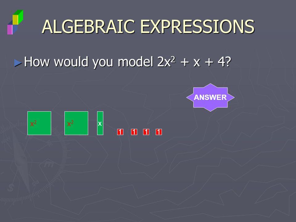 ALGEBRAIC EXPRESSIONS How would you model 2x 2 + x + 4? How would you model 2x 2 + x + 4? ANSWER x2x2 x x2x2 1111