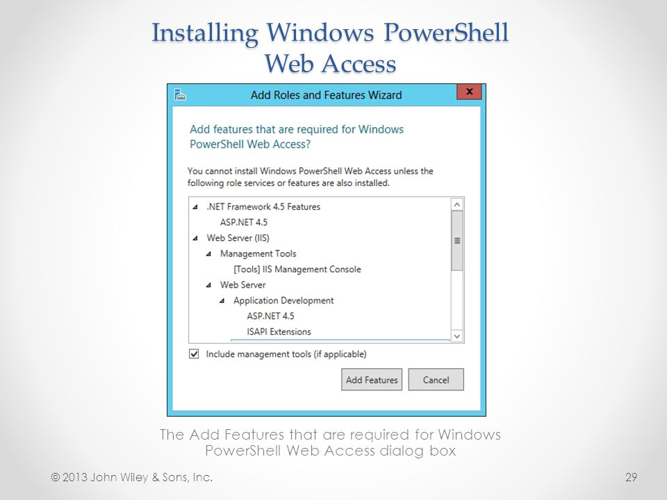 Installing Windows PowerShell Web Access The Add Features that are required for Windows PowerShell Web Access dialog box © 2013 John Wiley & Sons, Inc