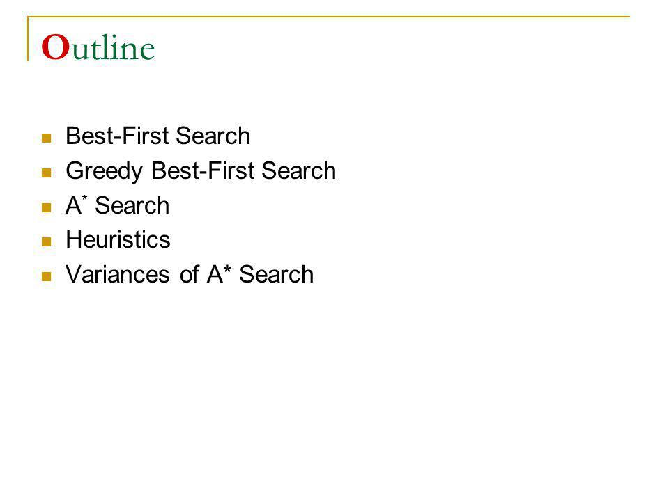 Outline Best-First Search Greedy Best-First Search A * Search Heuristics Variances of A* Search