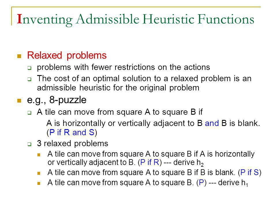 Inventing Admissible Heuristic Functions Relaxed problems problems with fewer restrictions on the actions The cost of an optimal solution to a relaxed