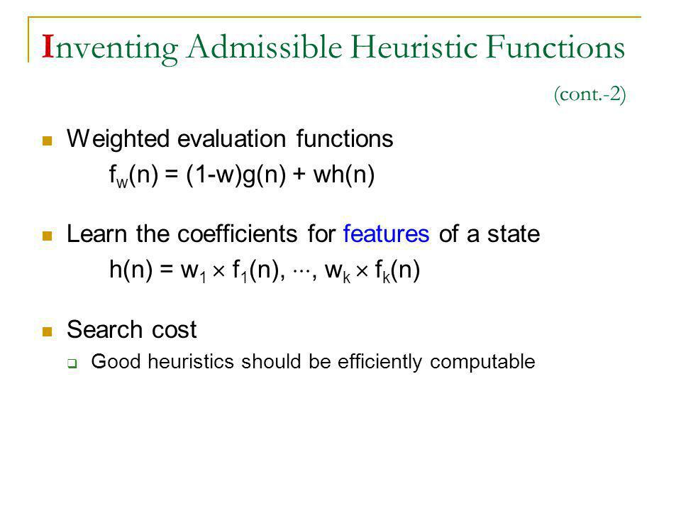 Inventing Admissible Heuristic Functions (cont.-2) Weighted evaluation functions f w (n) = (1-w)g(n) + wh(n) Learn the coefficients for features of a