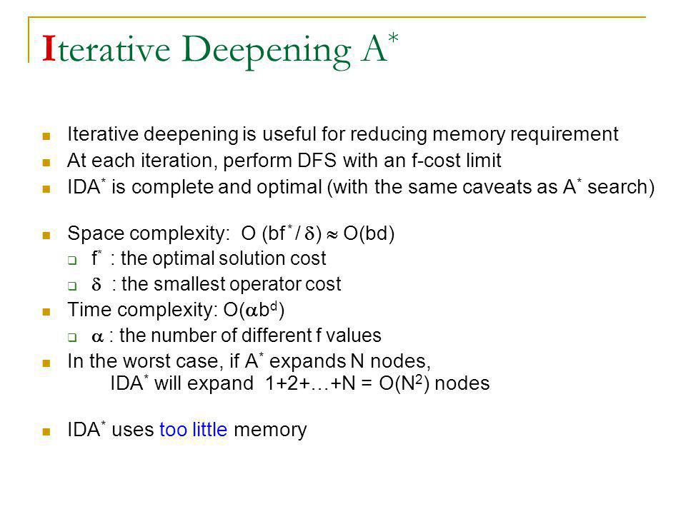 Iterative Deepening A * Iterative deepening is useful for reducing memory requirement At each iteration, perform DFS with an f-cost limit IDA * is com