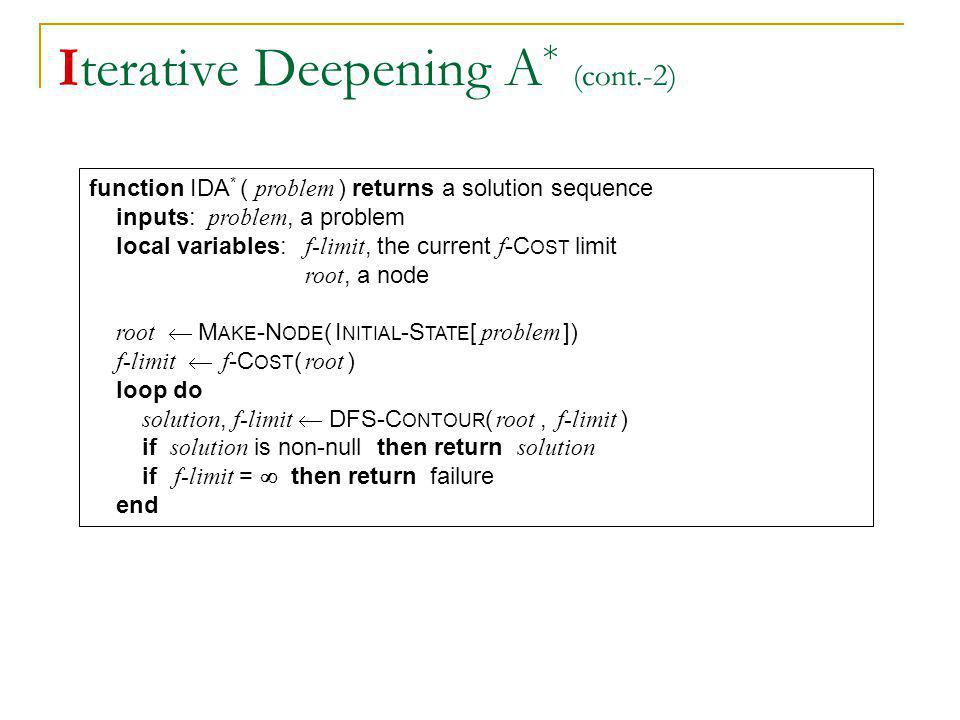 Iterative Deepening A * (cont.-2) function IDA * ( problem ) returns a solution sequence inputs: problem, a problem local variables: f-limit, the curr