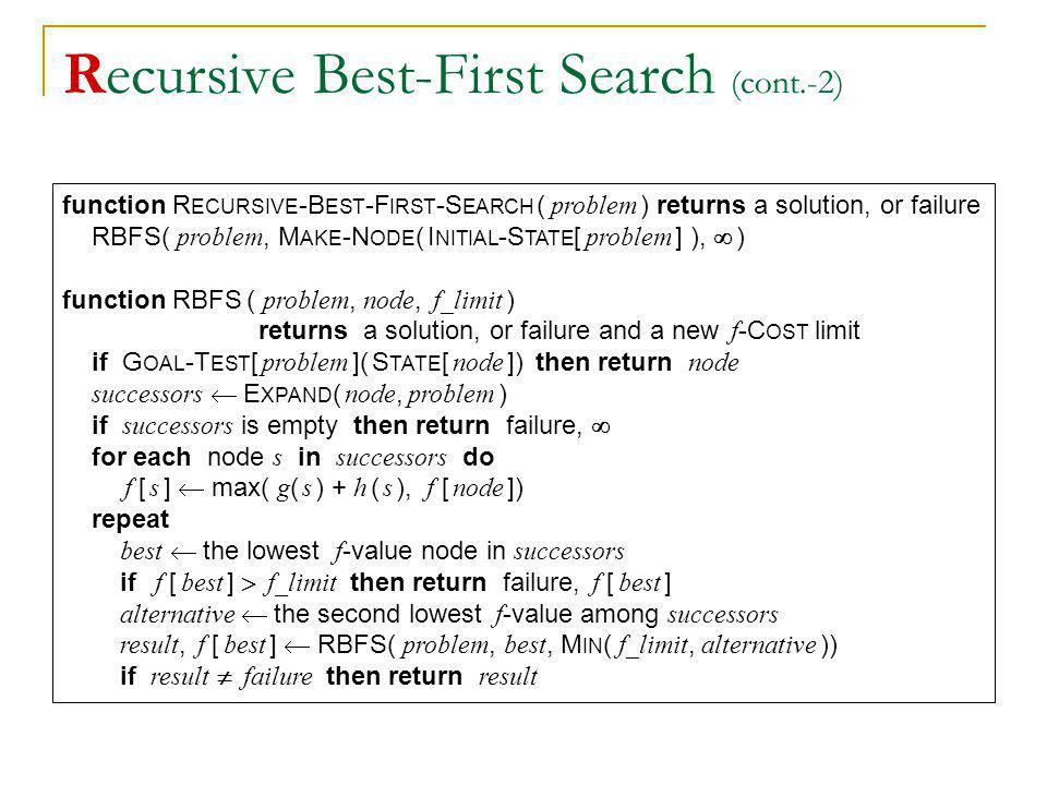 Recursive Best-First Search (cont.-2) function R ECURSIVE -B EST -F IRST -S EARCH ( problem ) returns a solution, or failure RBFS( problem, M AKE -N O