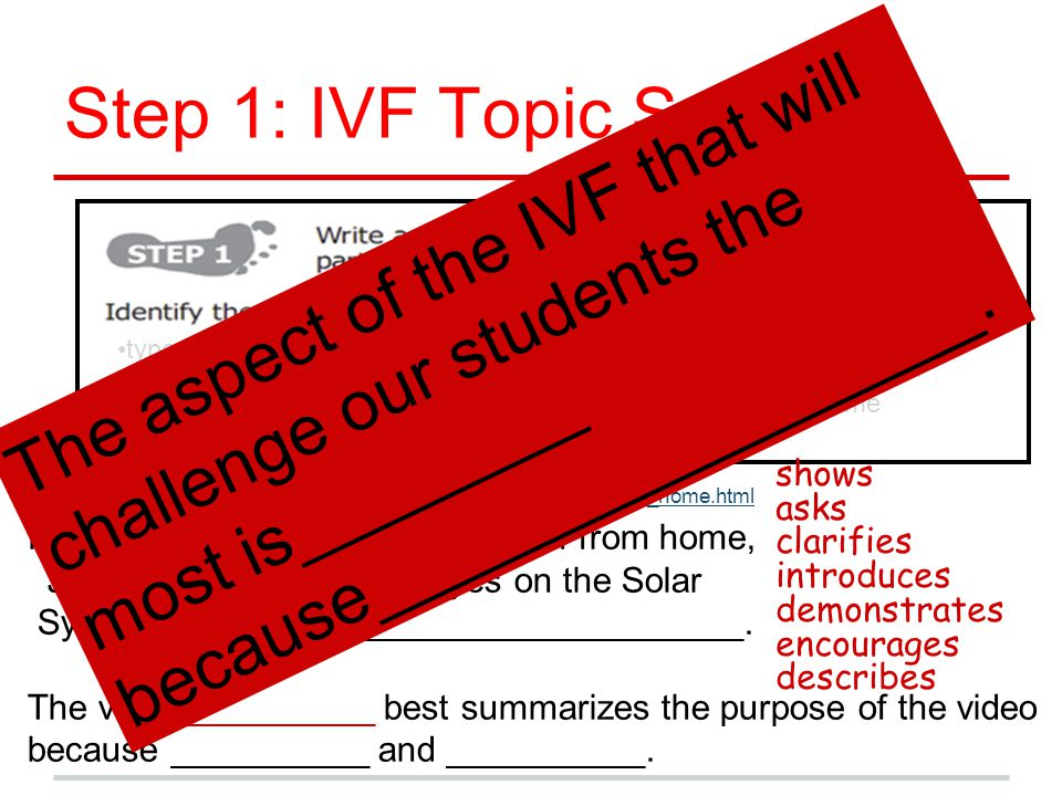 Step 1: IVF Topic Sentence type of work/source title of work author choose from listmain idea theme http://www.ted.com/talks/jon_nguyen_tour_the_solar