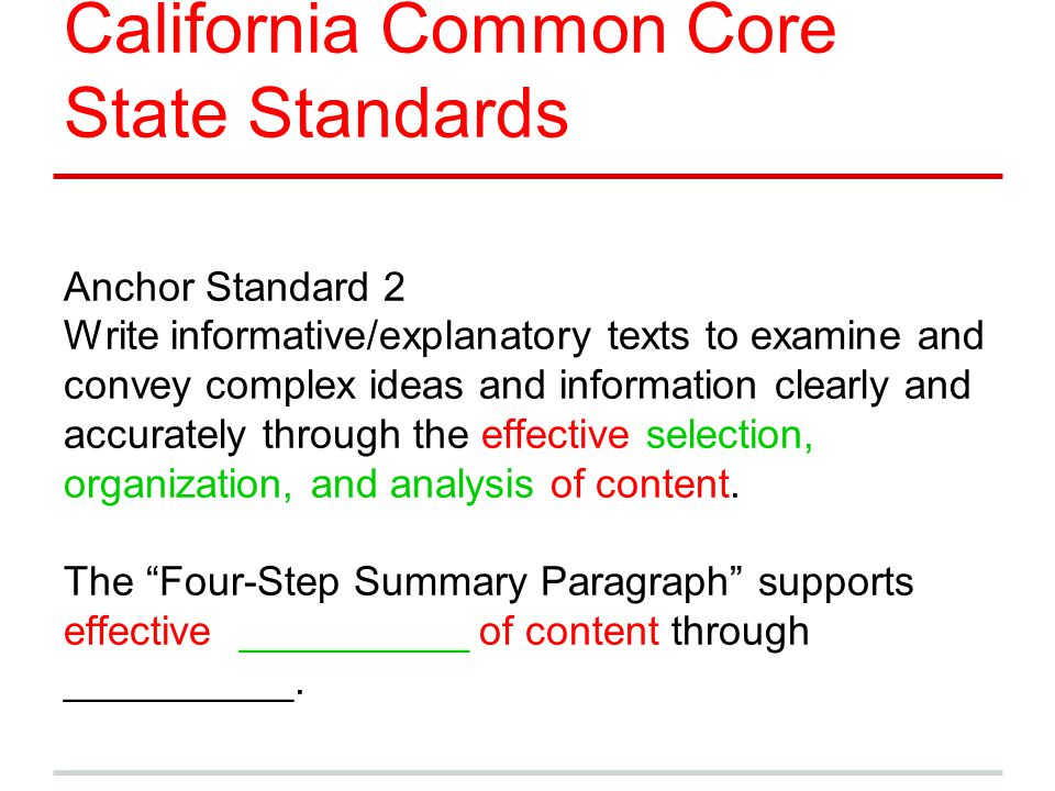 California Common Core State Standards Anchor Standard 2 Write informative/explanatory texts to examine and convey complex ideas and information clear