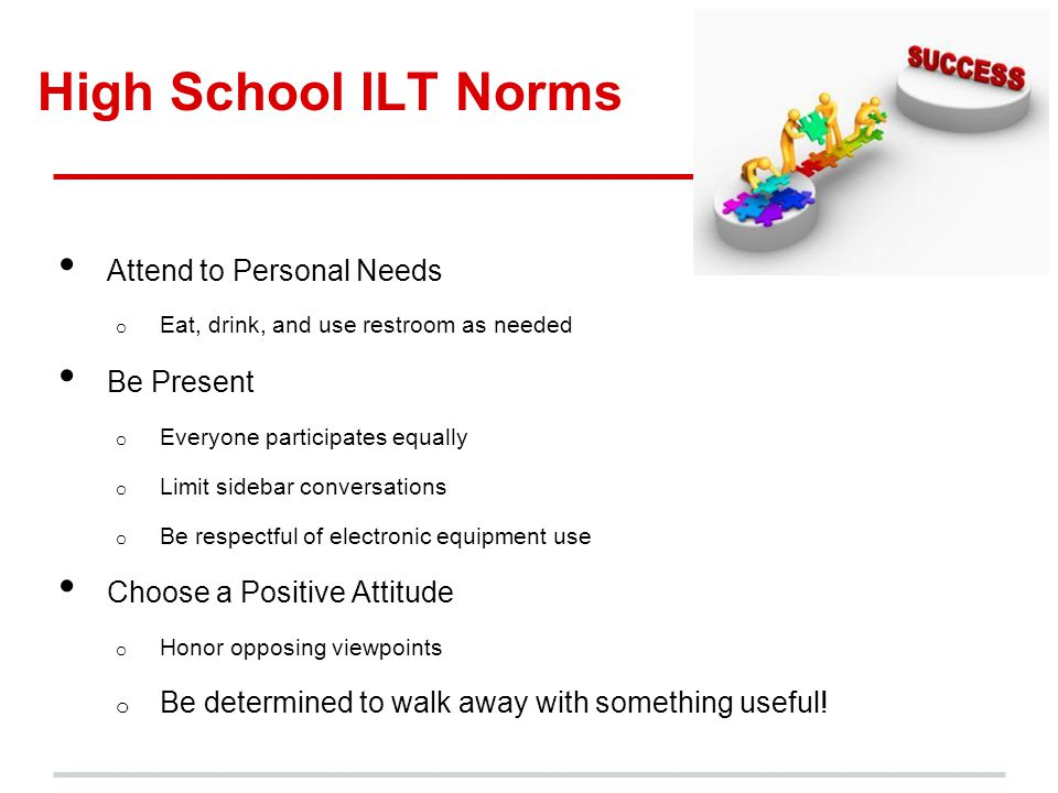 High School ILT Norms Attend to Personal Needs o Eat, drink, and use restroom as needed Be Present o Everyone participates equally o Limit sidebar con