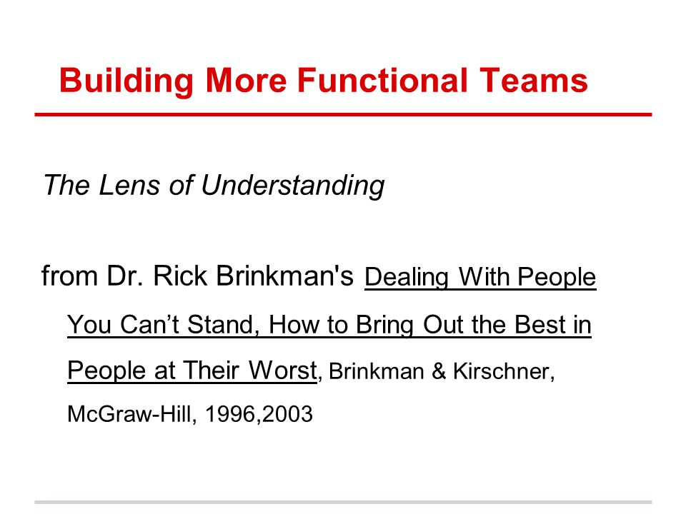 Building More Functional Teams The Lens of Understanding from Dr. Rick Brinkman's Dealing With People You Cant Stand, How to Bring Out the Best in Peo