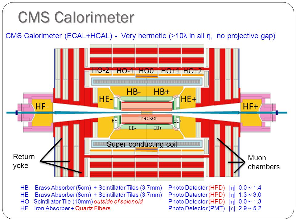 CMS Calorimeter HB Brass Absorber (5cm) + Scintillator Tiles (3.7mm)Photo Detector (HPD) | | 0.0 ~ 1.4 HE Brass Absorber (8cm) + Scintillator Tiles (3.7mm)Photo Detector (HPD) | | 1.3 ~ 3.0 HO Scintillator Tile (10mm) outside of solenoid Photo Detector (HPD) | | 0.0 ~ 1.3 HF Iron Absorber + Quartz Fibers Photo Detector (PMT) | | 2.9 ~ 5.2 CMS Calorimeter (ECAL+HCAL) - Very hermetic (>10λ in all η, no projective gap) HB+HB- HE+HE- HF+HF- HO0HO+1HO+2HO-1 HO-2 EB+EB- EE+ EE- Tracker Super conducting coil Muon chambers Return yoke