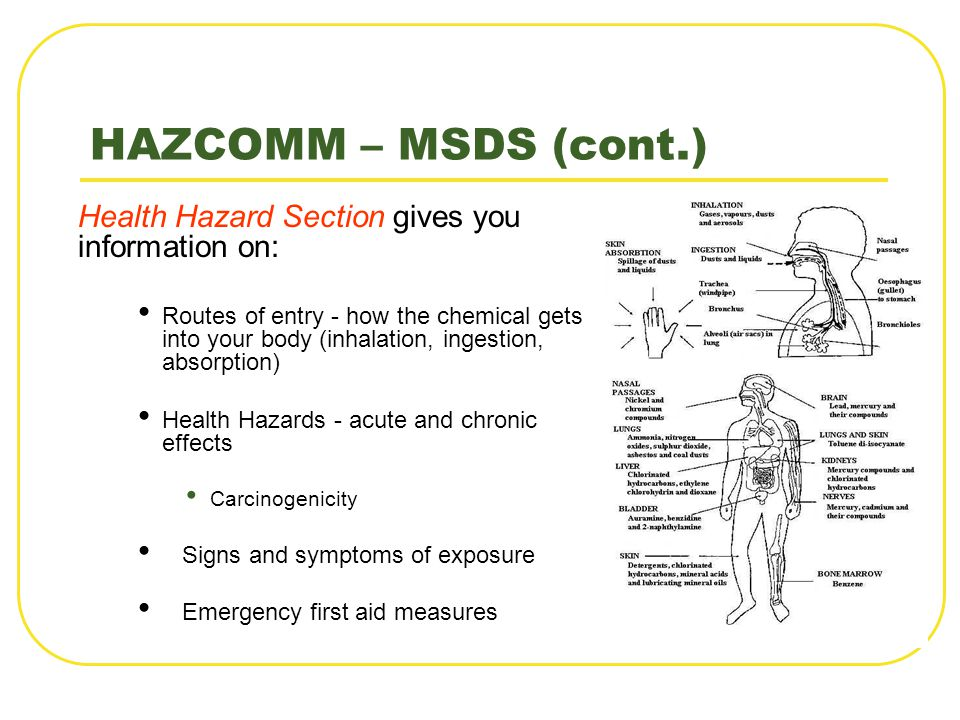 HAZCOMM – MSDS (cont.) Health Hazard Section gives you information on: Routes of entry - how the chemical gets into your body (inhalation, ingestion,