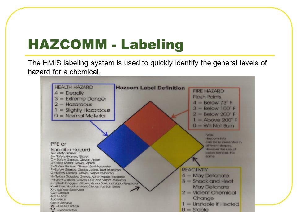HAZCOMM - Labeling The HMIS labeling system is used to quickly identify the general levels of hazard for a chemical.