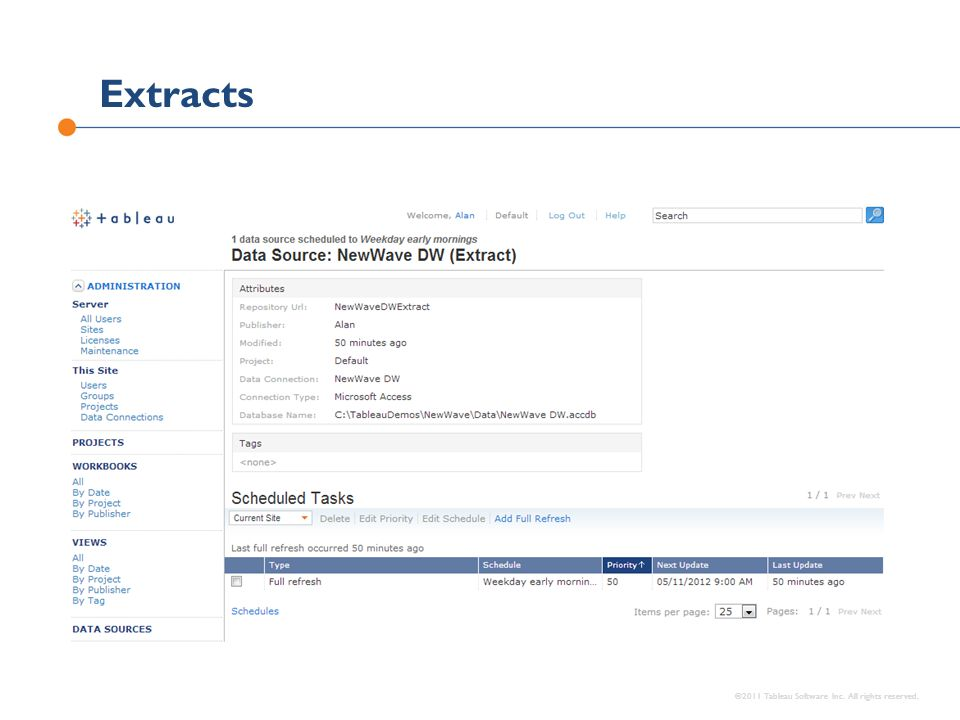 Extracts ©2011 Tableau Software Inc. All rights reserved.