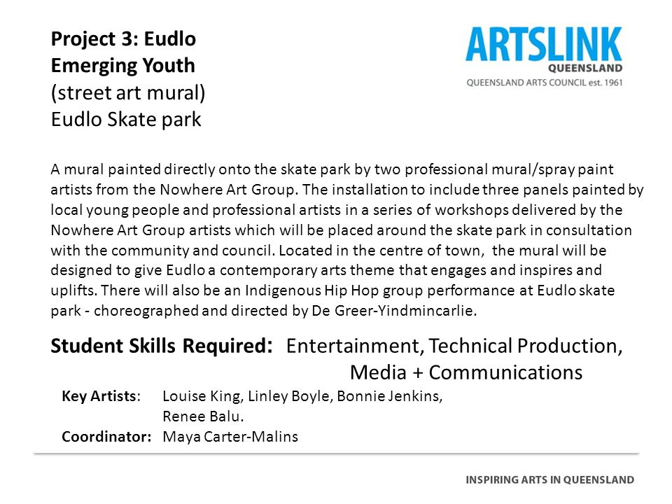 Project 3: Eudlo Emerging Youth (street art mural) Eudlo Skate park Student Skills Required : Entertainment, Technical Production, Media + Communications Key Artists: Louise King, Linley Boyle, Bonnie Jenkins, Renee Balu.