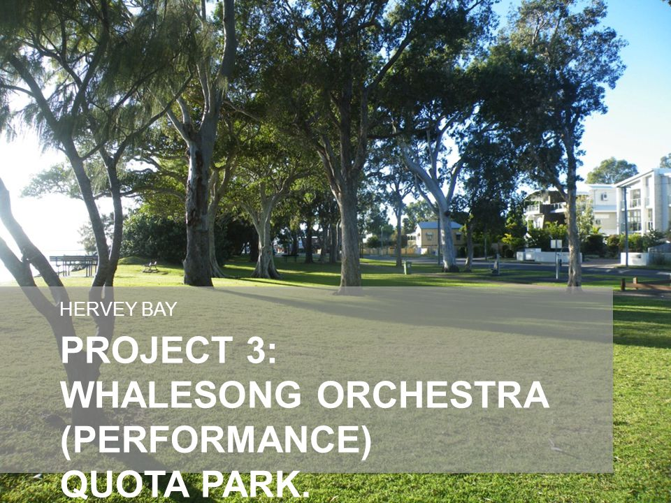 PROJECT 3: WHALESONG ORCHESTRA (PERFORMANCE) QUOTA PARK. HERVEY BAY