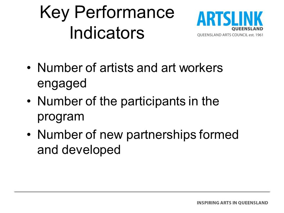 Key Performance Indicators Number of artists and art workers engaged Number of the participants in the program Number of new partnerships formed and developed