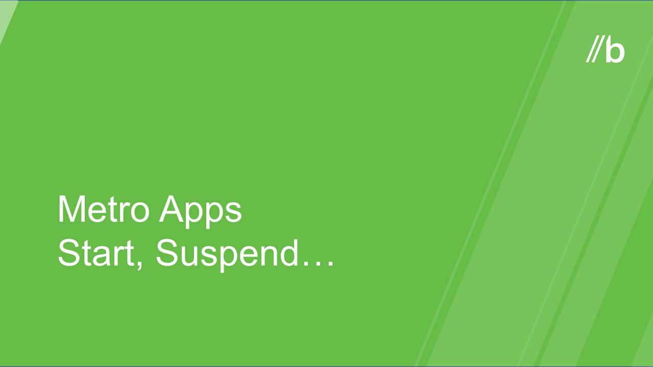 Metro Apps Start, Suspend…