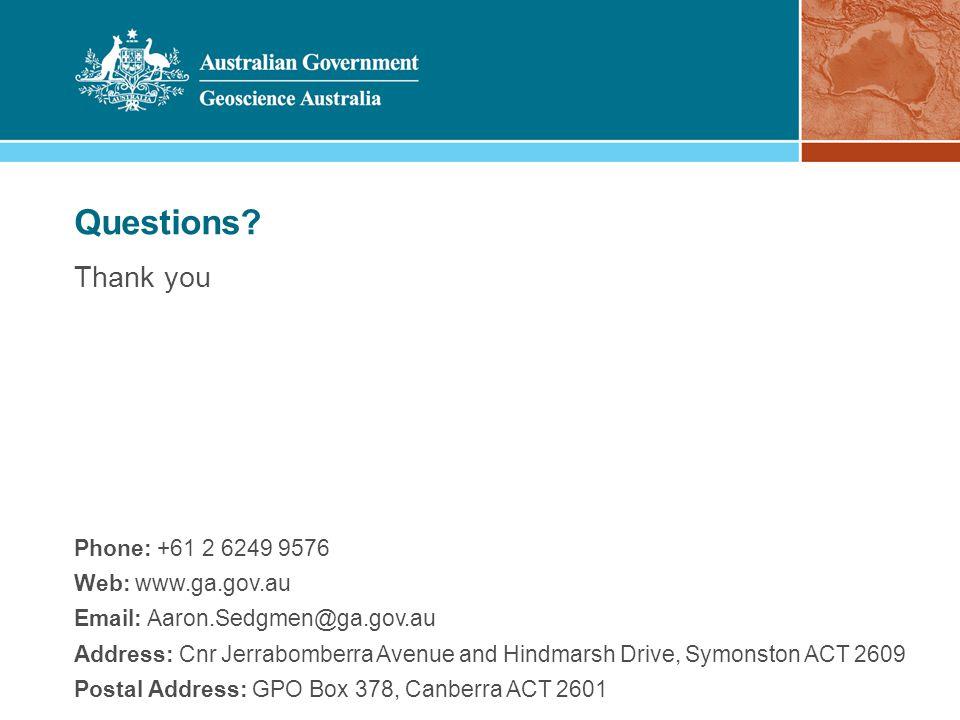 Phone: +61 2 6249 9576 Web: www.ga.gov.au Email: Aaron.Sedgmen@ga.gov.au Address: Cnr Jerrabomberra Avenue and Hindmarsh Drive, Symonston ACT 2609 Pos