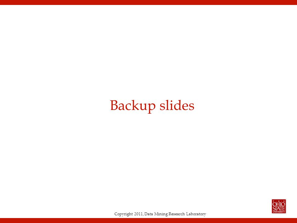 Copyright 2011, Data Mining Research Laboratory Backup slides
