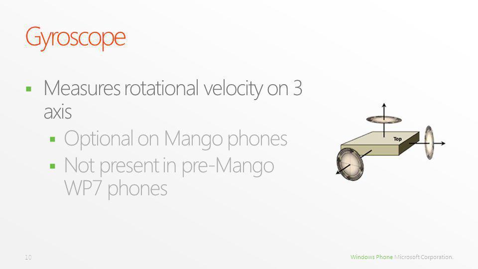 Windows Phone Microsoft Corporation. Measures rotational velocity on 3 axis Optional on Mango phones Not present in pre-Mango WP7 phones 10 Gyroscope