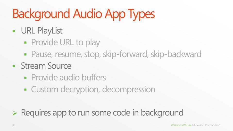Windows Phone Microsoft Corporation. Background Audio App Types URL PlayList Provide URL to play Pause, resume, stop, skip-forward, skip-backward Stre