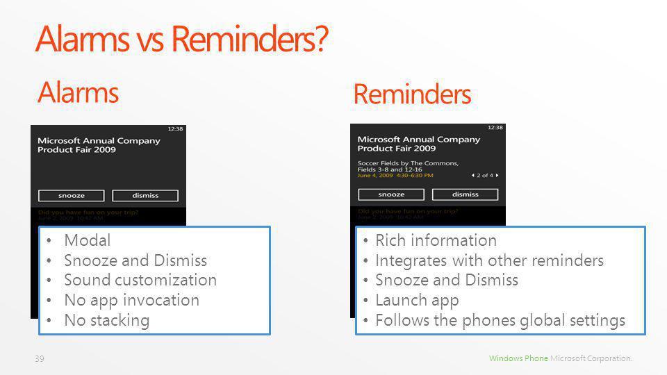 Windows Phone Microsoft Corporation. Alarms vs Reminders.