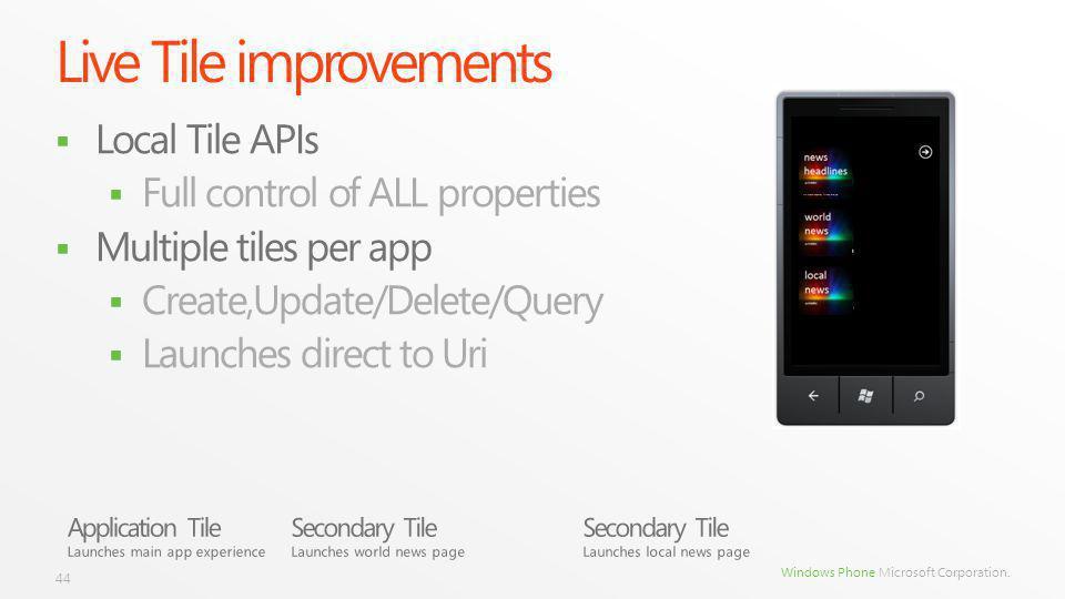 Windows Phone Microsoft Corporation. Live Tile improvements Local Tile APIs Full control of ALL properties Multiple tiles per app Create,Update/Delete