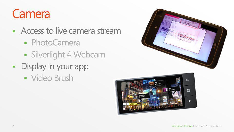 Windows Phone Microsoft Corporation. Camera Access to live camera stream PhotoCamera Silverlight 4 Webcam Display in your app Video Brush 7