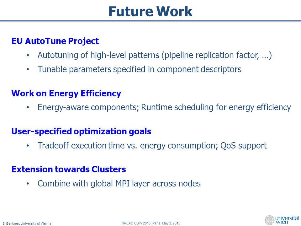 S. Benkner, University of Vienna HIPEAC CSW 2013, Paris, May 2, 2013 Future Work EU AutoTune Project Autotuning of high-level patterns (pipeline repli