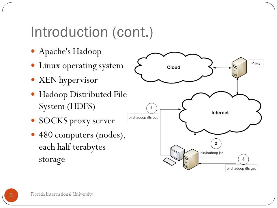 Introduction (cont.) Apache s Hadoop Linux operating system XEN hypervisor Hadoop Distributed File System (HDFS) SOCKS proxy server 480 computers (nodes), each half terabytes storage 5 Florida International University