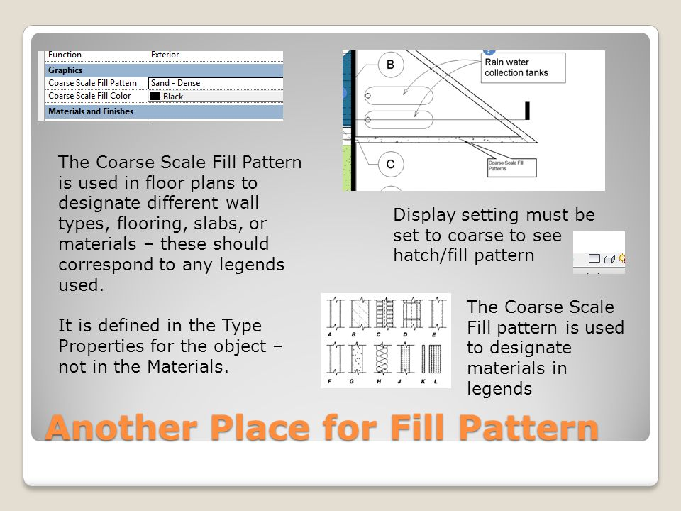 Another Place for Fill Pattern The Coarse Scale Fill Pattern is used in floor plans to designate different wall types, flooring, slabs, or materials – these should correspond to any legends used.