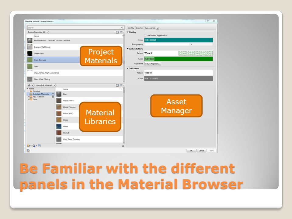 Be Familiar with the different panels in the Material Browser Project Materials Material Libraries Asset Manager