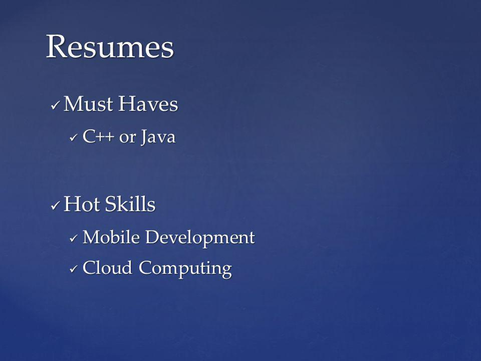 Must Haves Must Haves C++ or Java C++ or Java Hot Skills Hot Skills Mobile Development Mobile Development Cloud Computing Cloud Computing Resumes