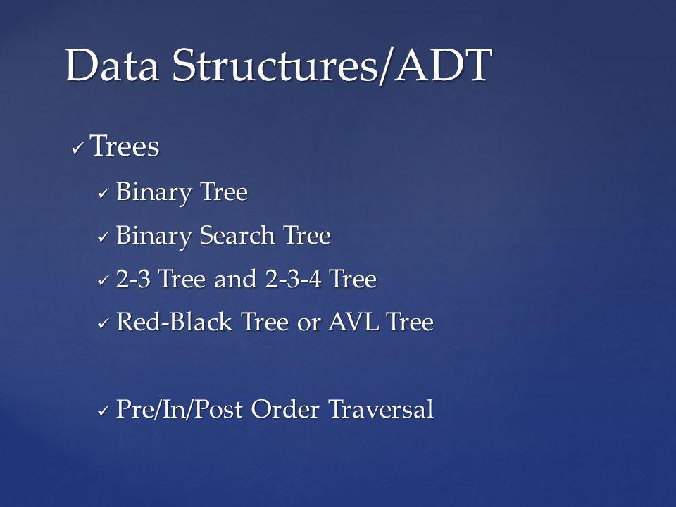 Trees Trees Binary Tree Binary Tree Binary Search Tree Binary Search Tree 2-3 Tree and 2-3-4 Tree 2-3 Tree and 2-3-4 Tree Red-Black Tree or AVL Tree Red-Black Tree or AVL Tree Pre/In/Post Order Traversal Pre/In/Post Order Traversal Data Structures/ADT