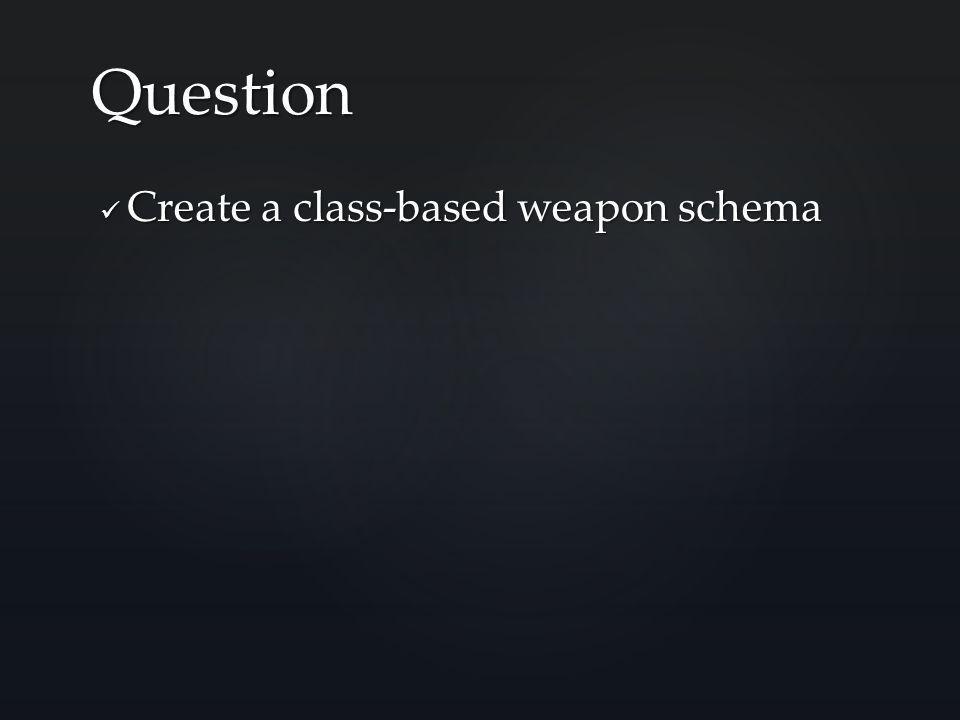 Create a class-based weapon schema Create a class-based weapon schema Question