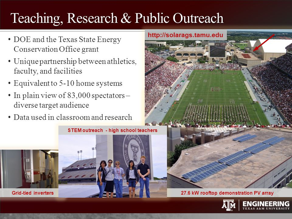 Teaching, Research & Public Outreach DOE and the Texas State Energy Conservation Office grant Unique partnership between athletics, faculty, and facil