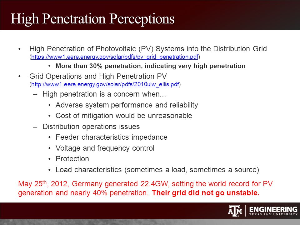 High Penetration Perceptions High Penetration of Photovoltaic (PV) Systems into the Distribution Grid (https://www1.eere.energy.gov/solar/pdfs/pv_grid