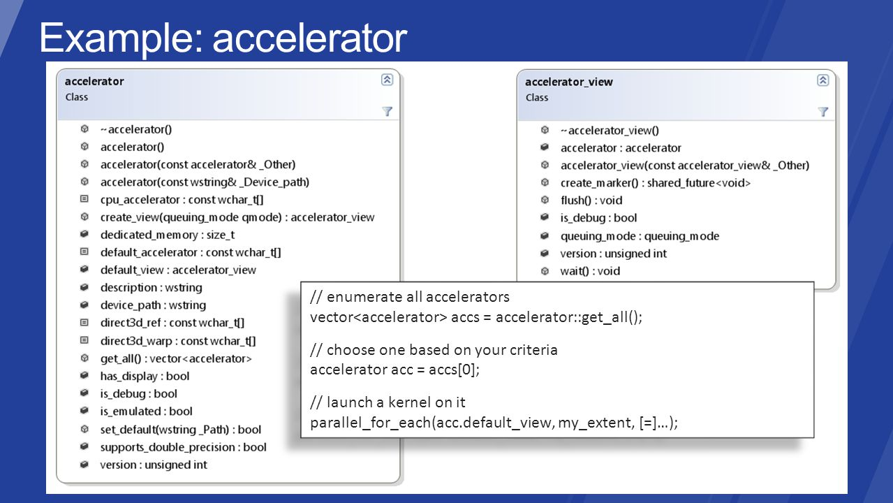 // enumerate all accelerators vector accs = accelerator::get_all(); // choose one based on your criteria accelerator acc = accs[0]; // launch a kernel on it parallel_for_each(acc.default_view, my_extent, [=]…); // enumerate all accelerators vector accs = accelerator::get_all(); // choose one based on your criteria accelerator acc = accs[0]; // launch a kernel on it parallel_for_each(acc.default_view, my_extent, [=]…);
