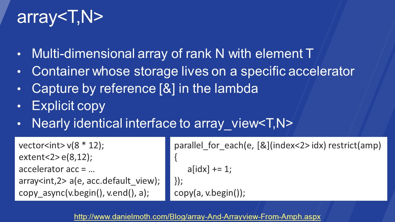 vector v(8 * 12); extent e(8,12); accelerator acc = … array a(e, acc.default_view); copy_async(v.begin(), v.end(), a); parallel_for_each(e, [&](index