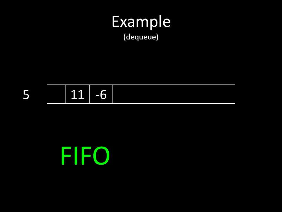Example (dequeue) 5 11 -6 FIFO
